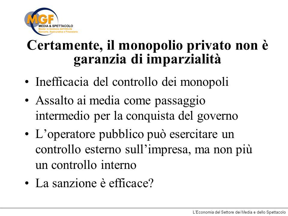 Certamente, il monopolio privato non è garanzia di imparzialità