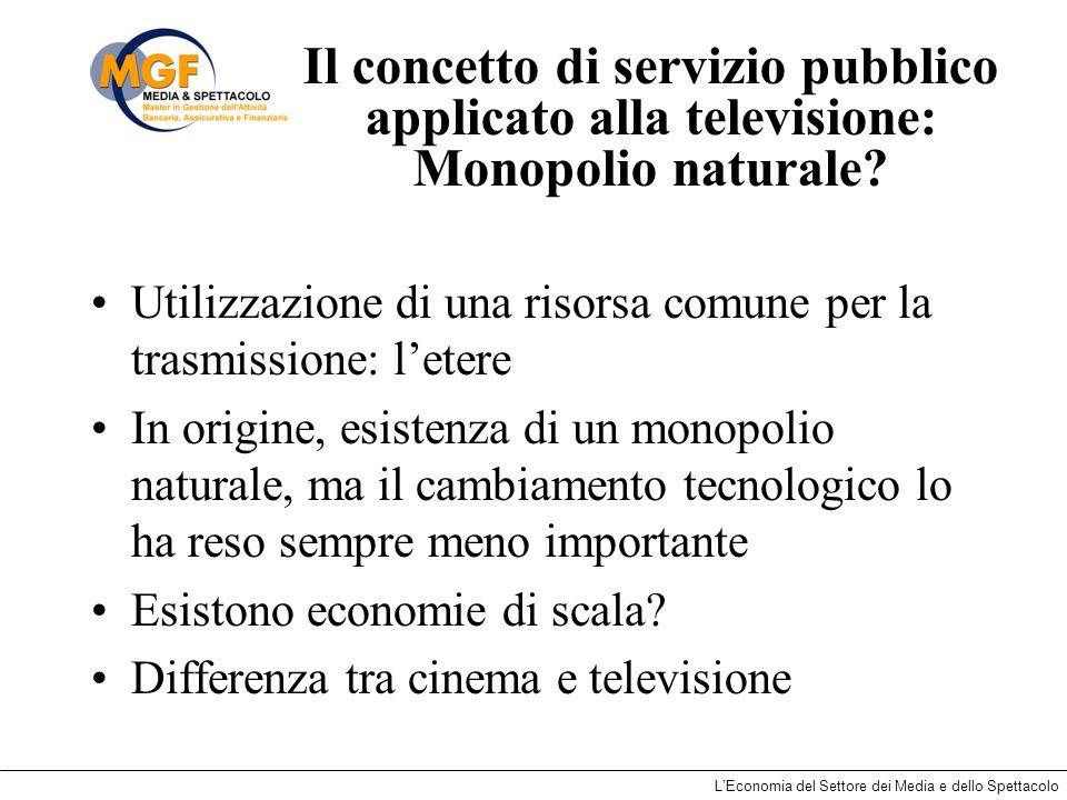 Il concetto di servizio pubblico applicato alla televisione: Monopolio naturale