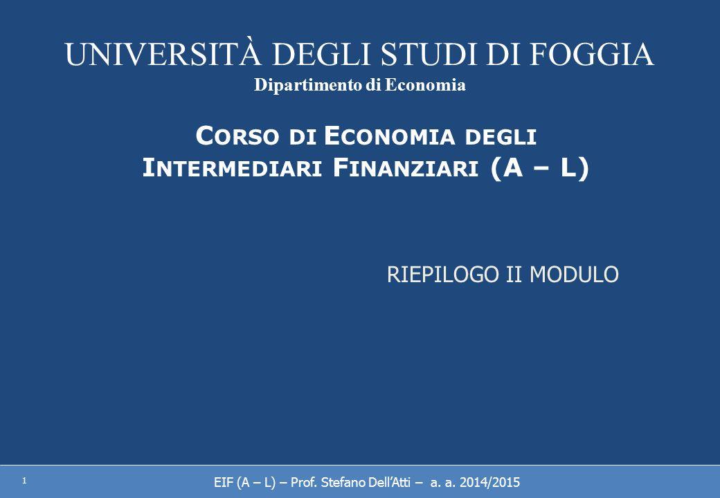 UNIVERSITÀ DEGLI STUDI DI FOGGIA Dipartimento di Economia