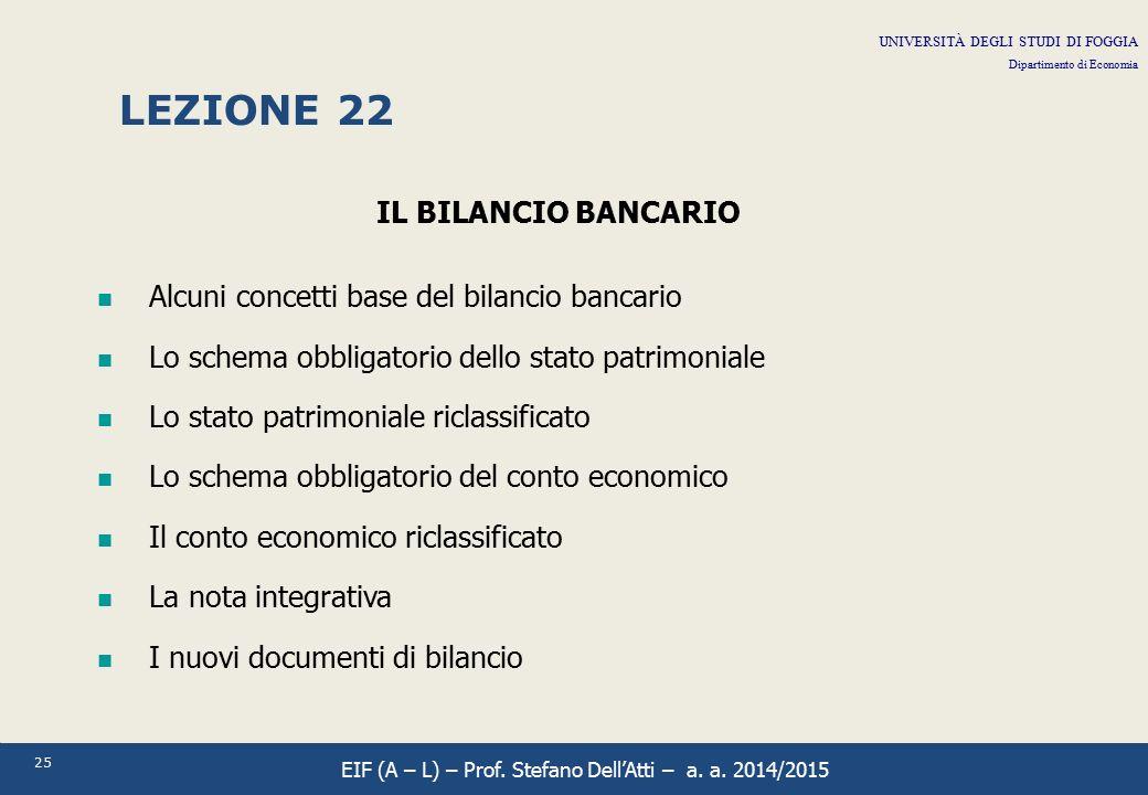 LEZIONE 22 IL BILANCIO BANCARIO