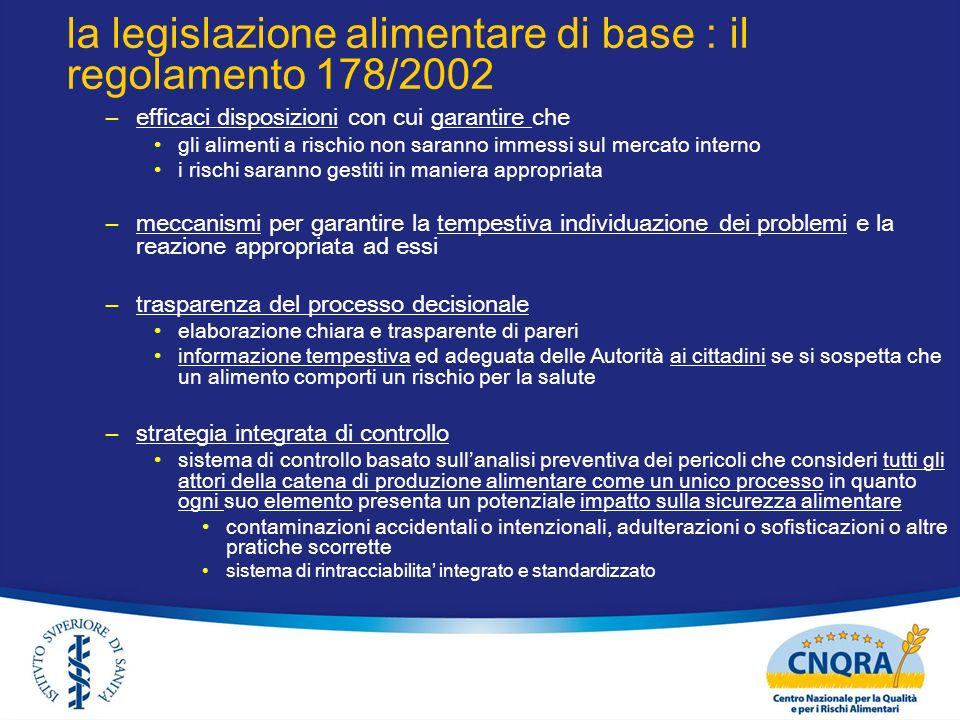 la legislazione alimentare di base : il regolamento 178/2002