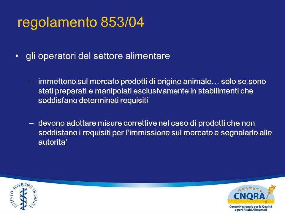 regolamento 853/04 gli operatori del settore alimentare