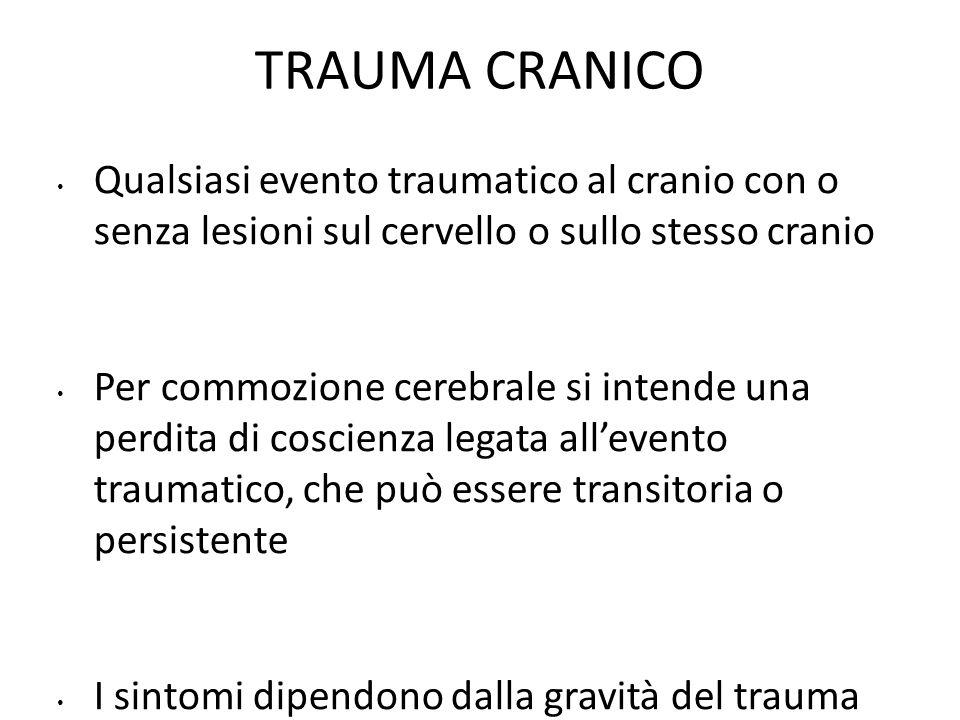 TRAUMA CRANICO Qualsiasi evento traumatico al cranio con o senza lesioni sul cervello o sullo stesso cranio.