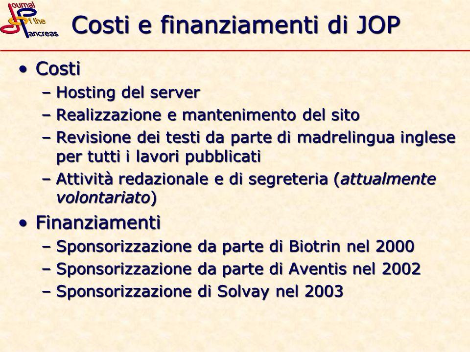 Costi e finanziamenti di JOP