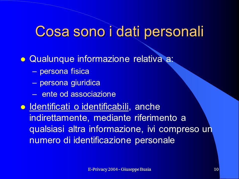 Cosa sono i dati personali