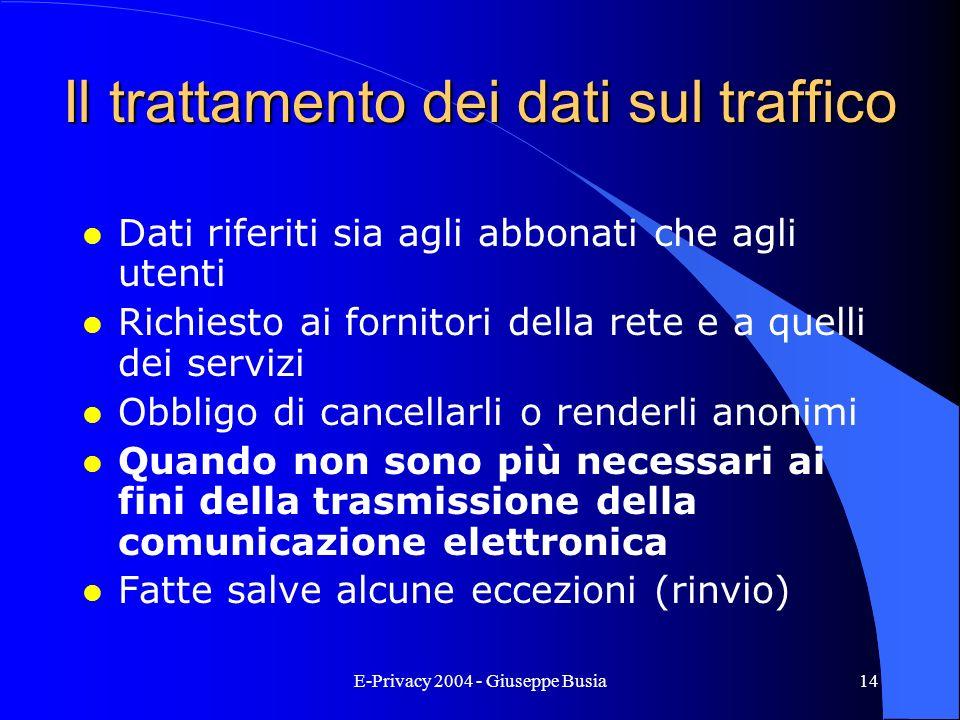 Il trattamento dei dati sul traffico