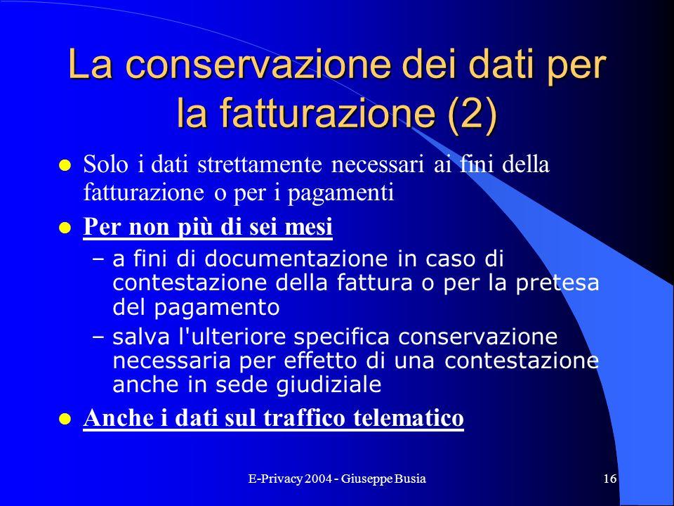 La conservazione dei dati per la fatturazione (2)