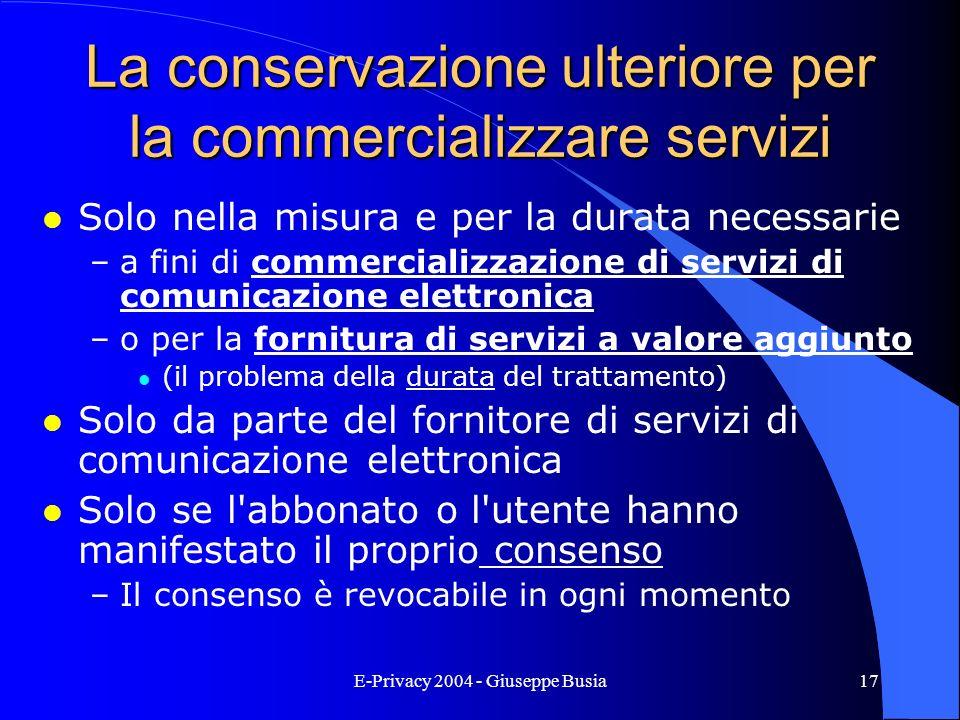 La conservazione ulteriore per la commercializzare servizi