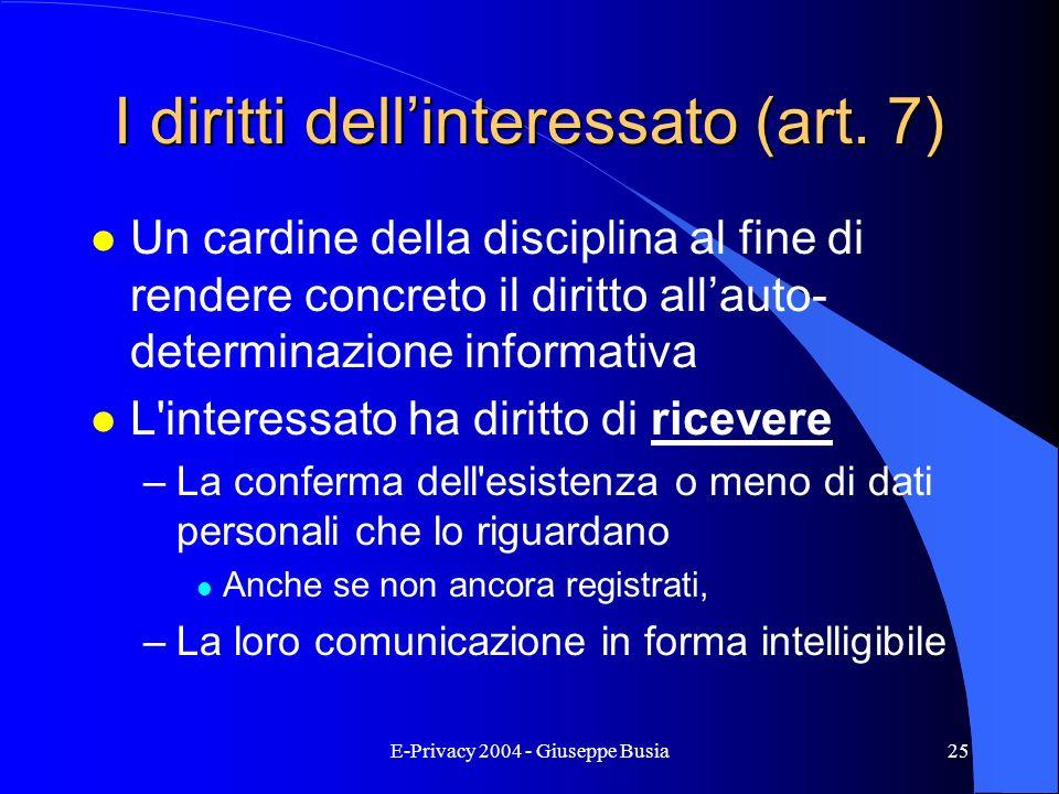 I diritti dell'interessato (art. 7)