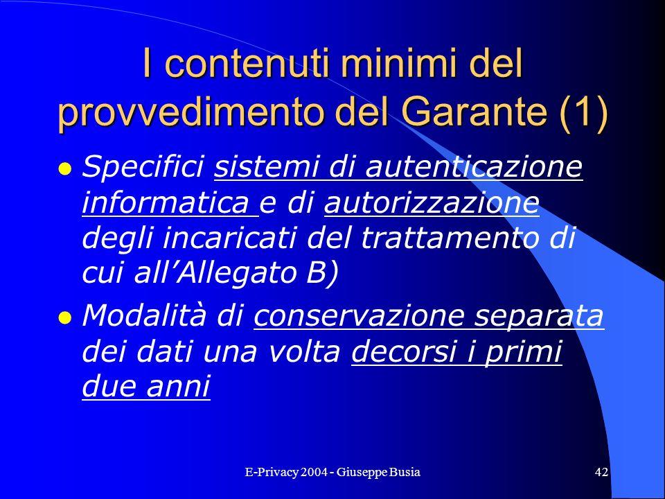 I contenuti minimi del provvedimento del Garante (1)