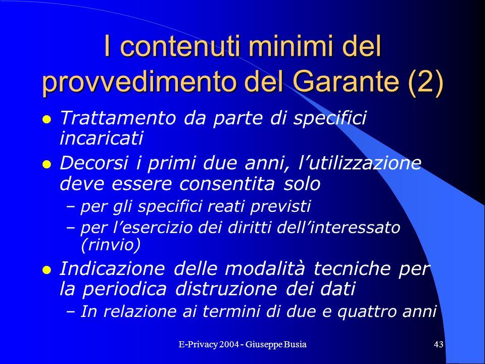 I contenuti minimi del provvedimento del Garante (2)