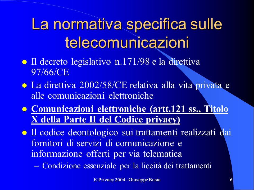 La normativa specifica sulle telecomunicazioni