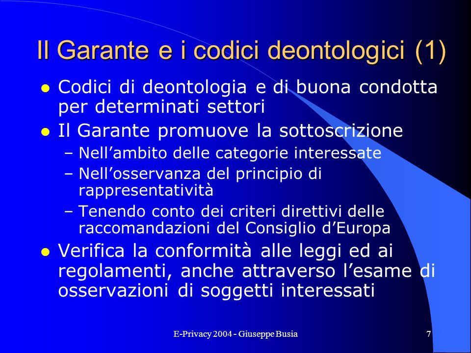 Il Garante e i codici deontologici (1)
