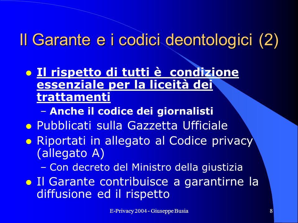 Il Garante e i codici deontologici (2)