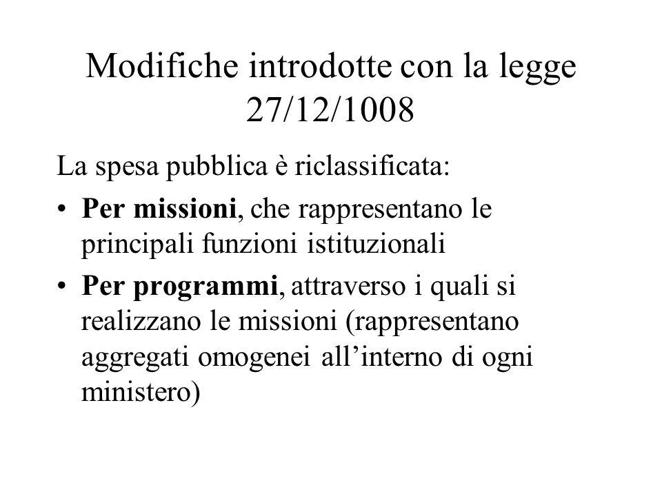 Modifiche introdotte con la legge 27/12/1008