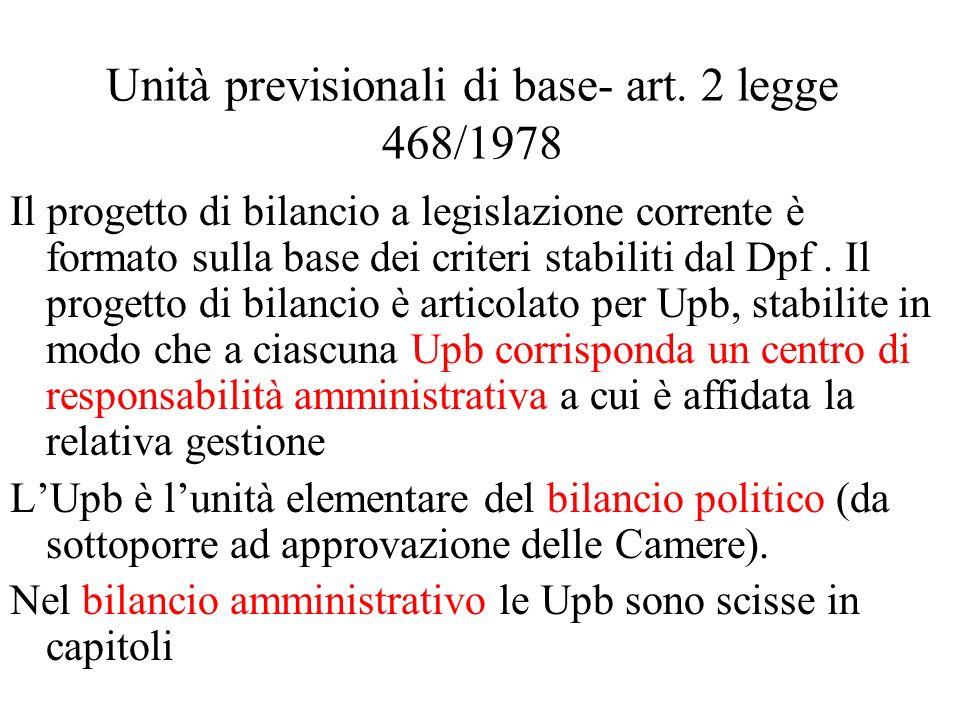 Unità previsionali di base- art. 2 legge 468/1978