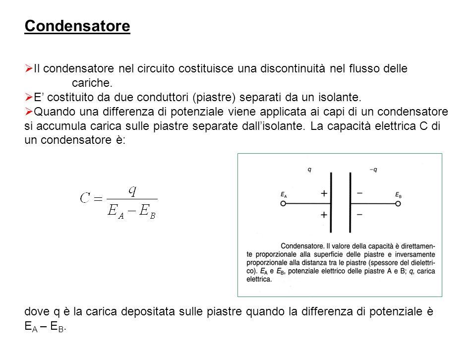Condensatore Il condensatore nel circuito costituisce una discontinuità nel flusso delle cariche.
