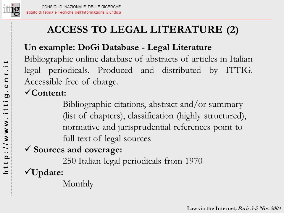 ACCESS TO LEGAL LITERATURE (2)