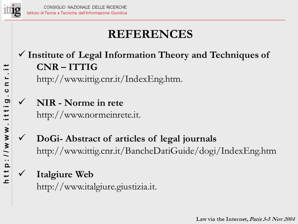 Law via the Internet, Paris 3-5 Nov 2004