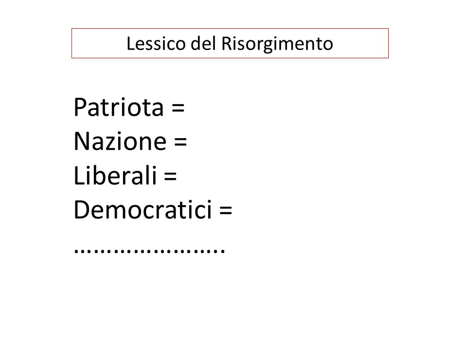 Lessico del Risorgimento