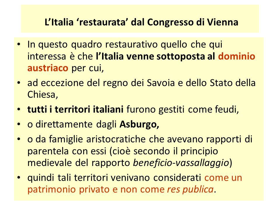 L'Italia 'restaurata' dal Congresso di Vienna