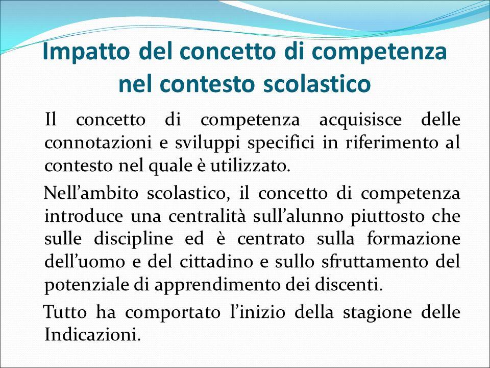Impatto del concetto di competenza nel contesto scolastico