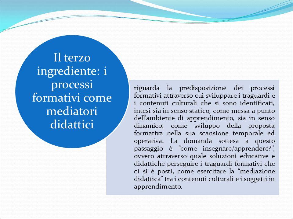 Il terzo ingrediente: i processi formativi come mediatori didattici