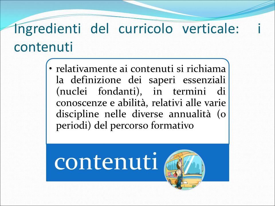 Ingredienti del curricolo verticale: i contenuti
