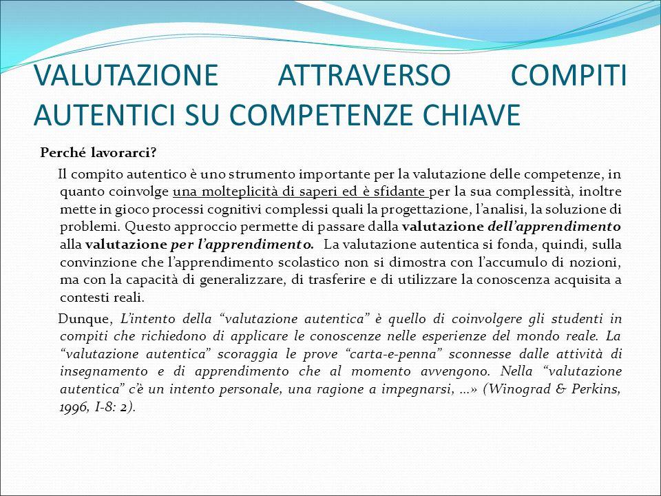 VALUTAZIONE ATTRAVERSO COMPITI AUTENTICI SU COMPETENZE CHIAVE