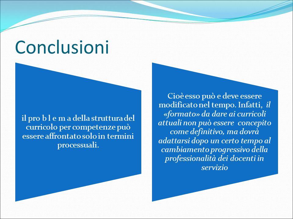 Conclusioni il pro b l e m a della struttura del curricolo per competenze può essere affrontato solo in termini processuali.