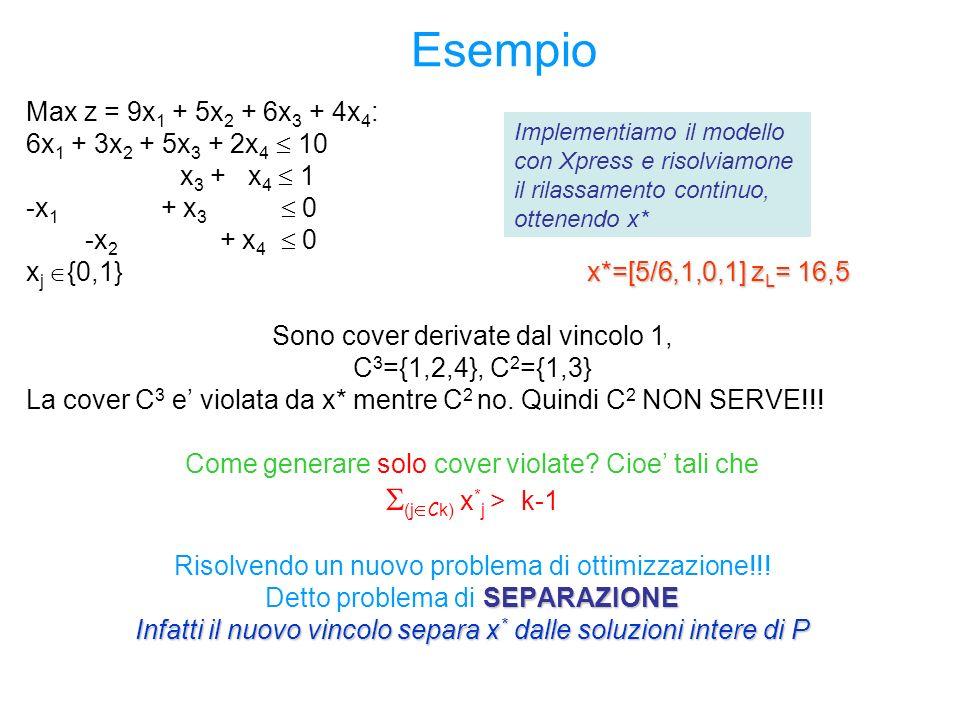 Esempio S(jCk) x*j > k-1 Max z = 9x1 + 5x2 + 6x3 + 4x4:
