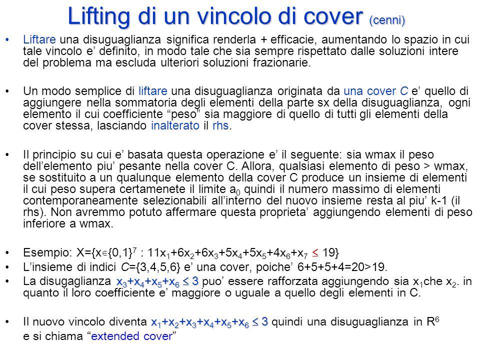 Lifting di un vincolo di cover (cenni)