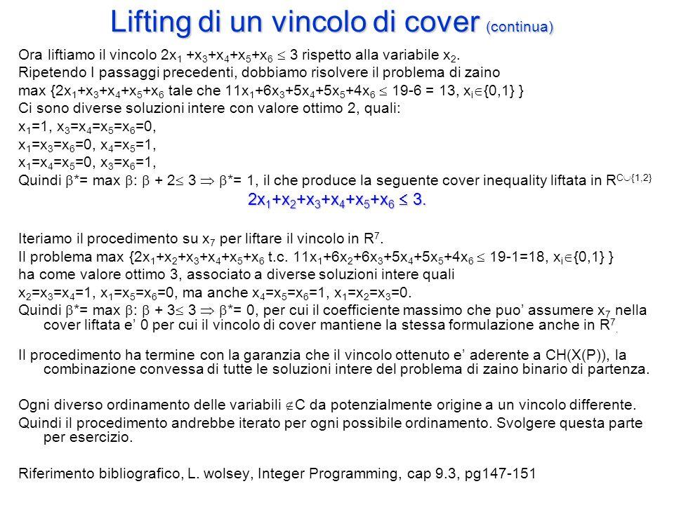 Lifting di un vincolo di cover (continua)
