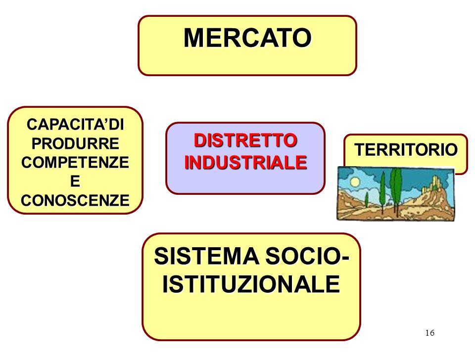 MERCATO SISTEMA SOCIO-ISTITUZIONALE DISTRETTO INDUSTRIALE TERRITORIO