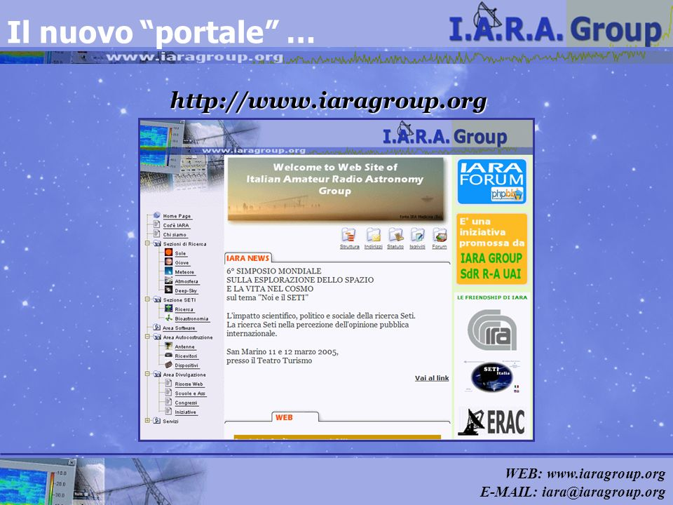 Il nuovo portale … http://www.iaragroup.org