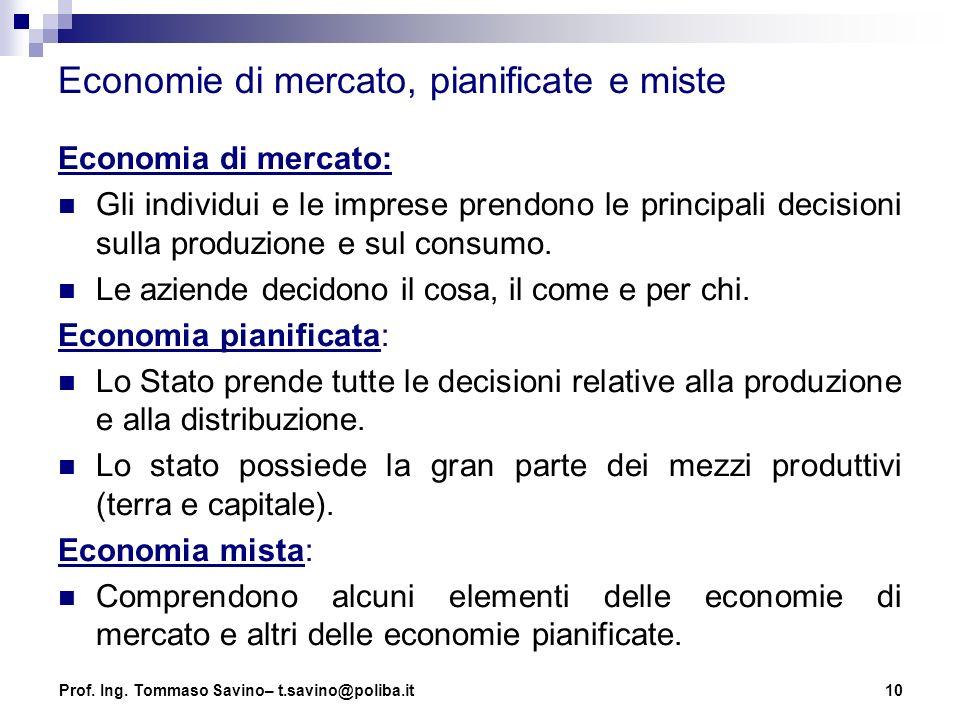 Economie di mercato, pianificate e miste