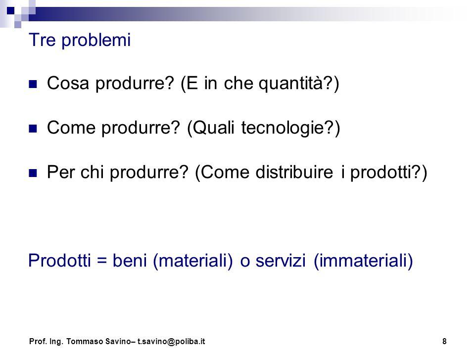 Cosa produrre (E in che quantità ) Come produrre (Quali tecnologie )