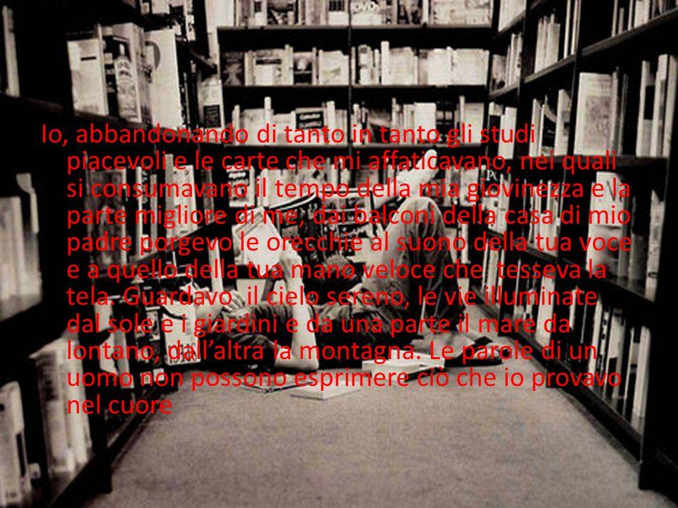 Io, abbandonando di tanto in tanto gli studi piacevoli e le carte che mi affaticavano, nei quali si consumavano il tempo della mia giovinezza e la parte migliore di me, dai balconi della casa di mio padre porgevo le orecchie al suono della tua voce e a quello della tua mano veloce che tesseva la tela.