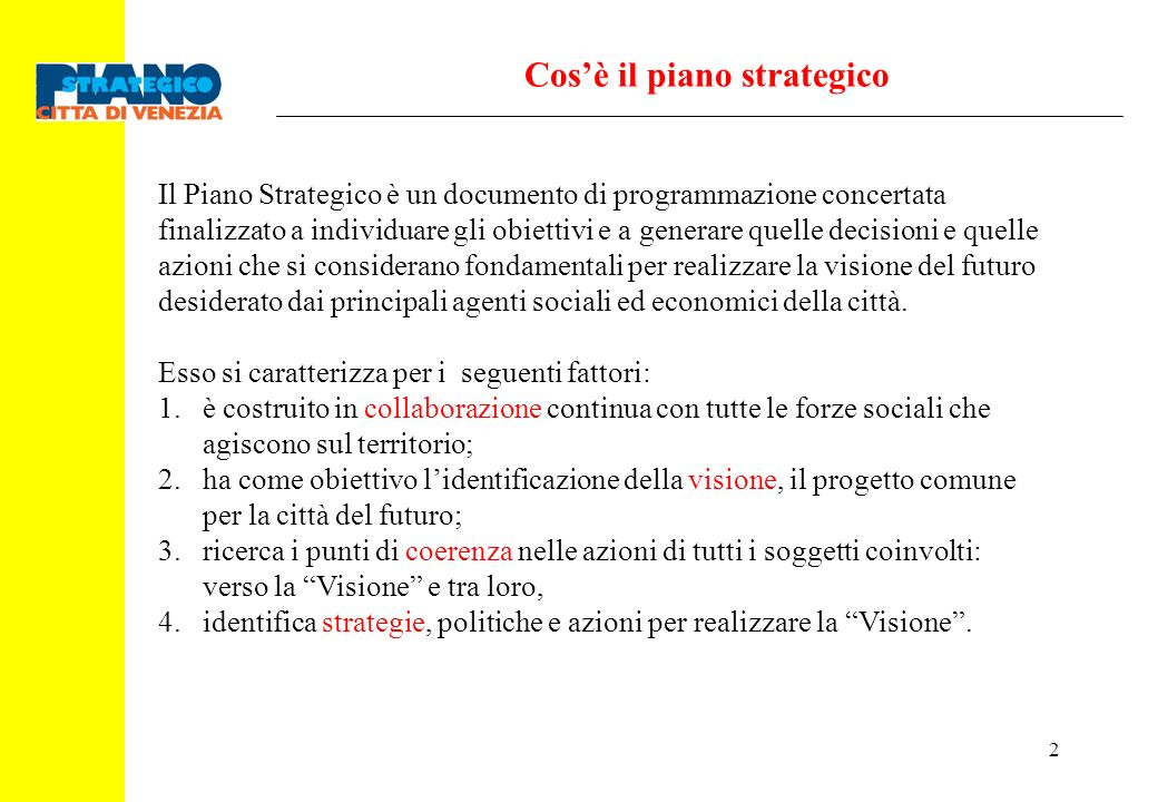Cos'è il piano strategico