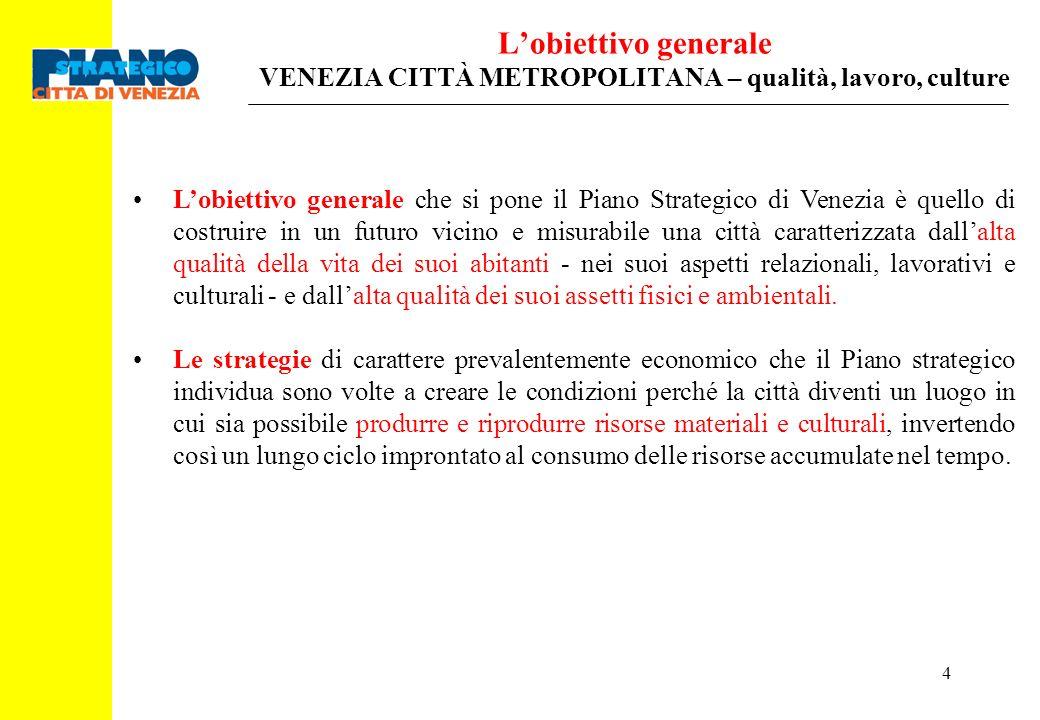 L'obiettivo generale VENEZIA CITTÀ METROPOLITANA – qualità, lavoro, culture