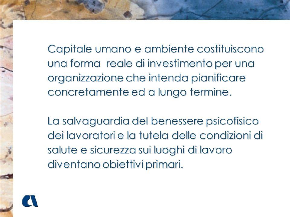 Capitale umano e ambiente costituiscono una forma reale di investimento per una organizzazione che intenda pianificare concretamente ed a lungo termine.