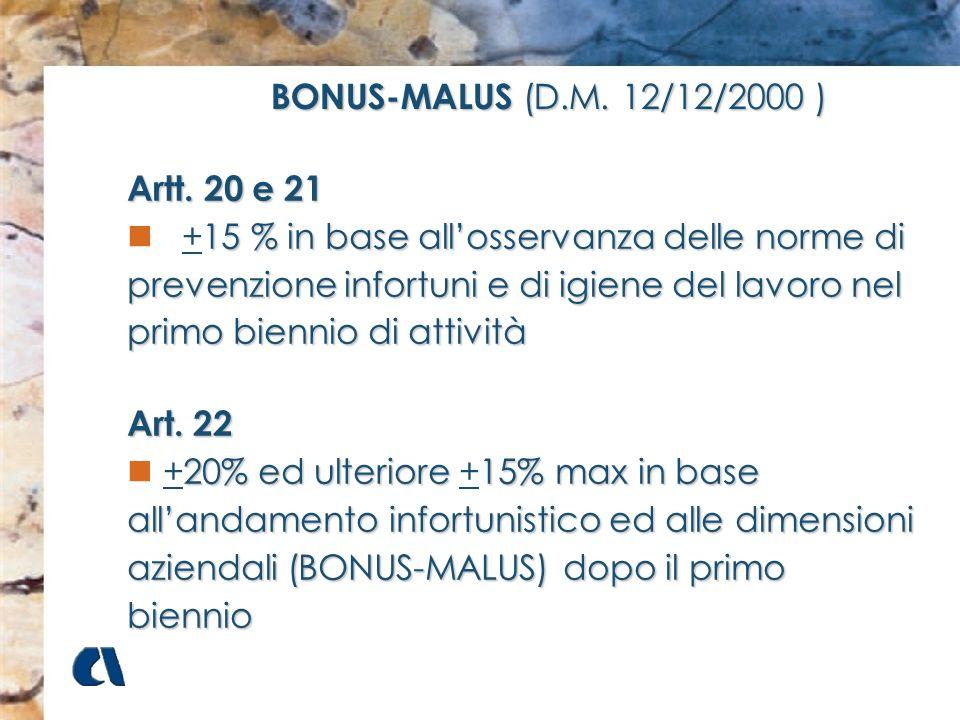 BONUS-MALUS (D.M. 12/12/2000 )Artt. 20 e 21.