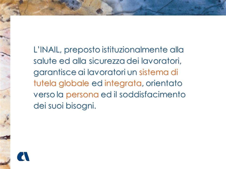 L'INAIL, preposto istituzionalmente alla salute ed alla sicurezza dei lavoratori, garantisce ai lavoratori un sistema di tutela globale ed integrata, orientato verso la persona ed il soddisfacimento dei suoi bisogni.