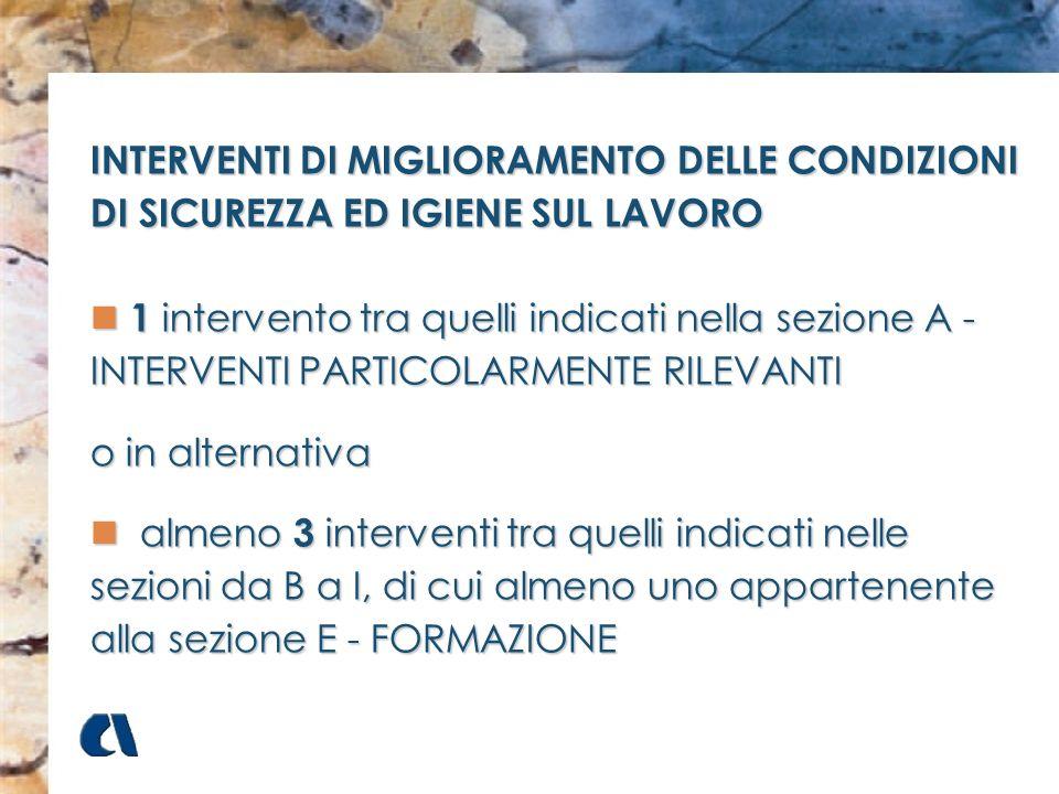 INTERVENTI DI MIGLIORAMENTO DELLE CONDIZIONI DI SICUREZZA ED IGIENE SUL LAVORO