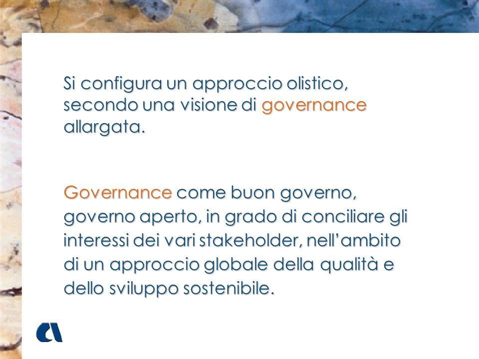 Si configura un approccio olistico, secondo una visione di governance allargata.