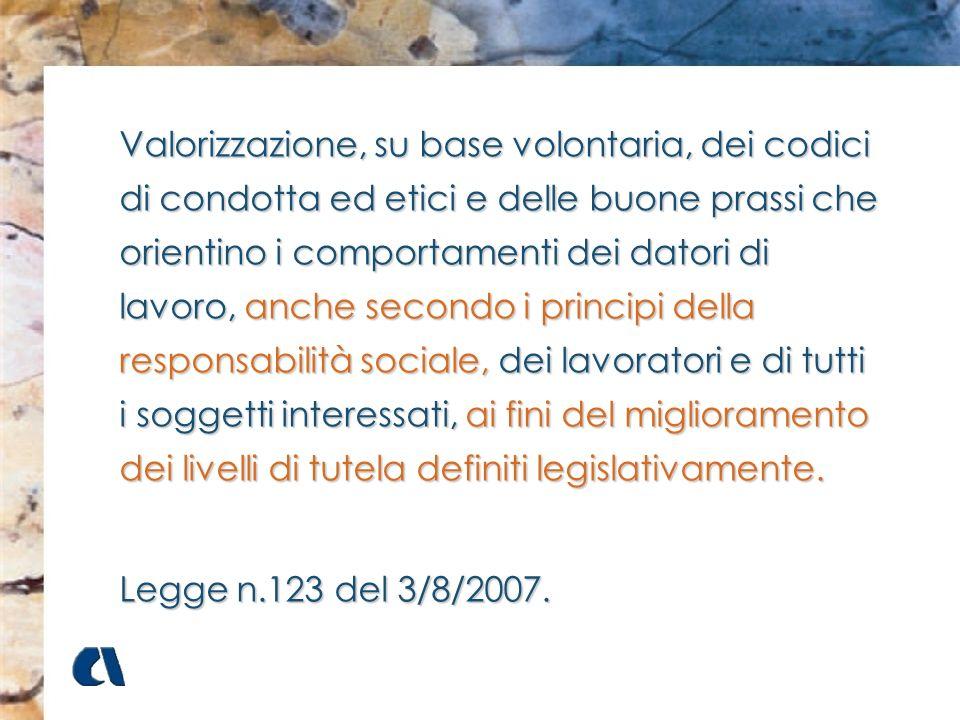 Valorizzazione, su base volontaria, dei codici di condotta ed etici e delle buone prassi che orientino i comportamenti dei datori di lavoro, anche secondo i principi della responsabilità sociale, dei lavoratori e di tutti i soggetti interessati, ai fini del miglioramento dei livelli di tutela definiti legislativamente.