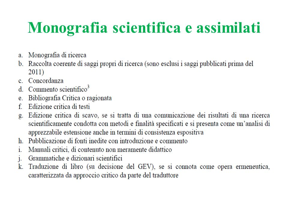 Monografia scientifica e assimilati
