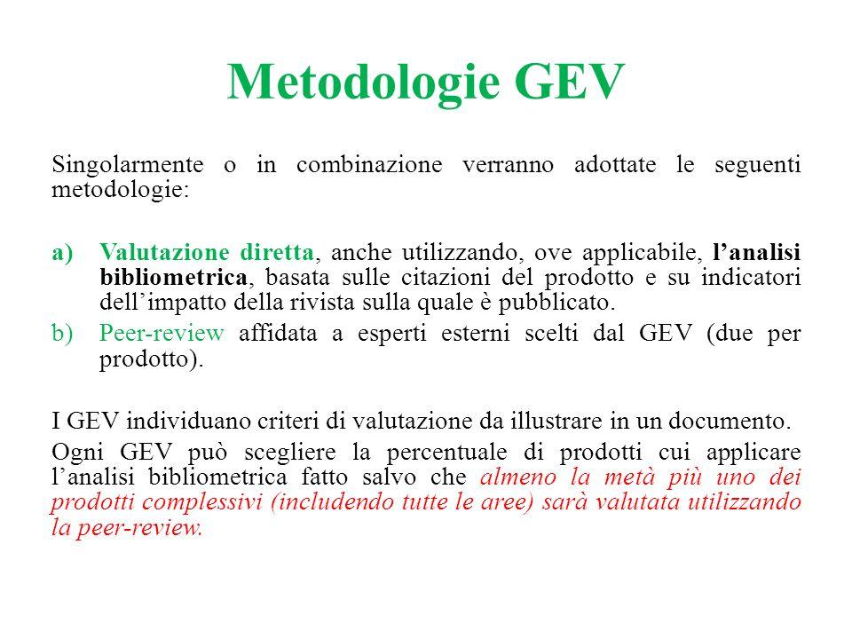 Metodologie GEV Singolarmente o in combinazione verranno adottate le seguenti metodologie: