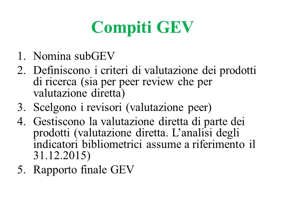 Compiti GEV Nomina subGEV