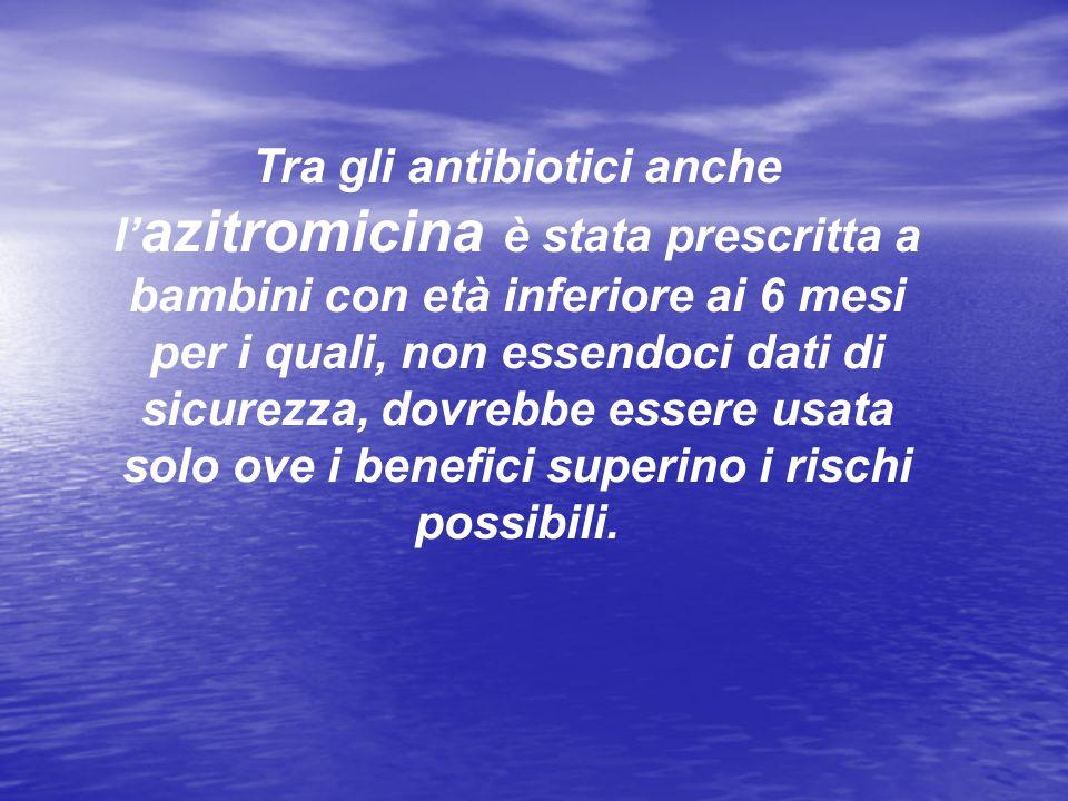 Tra gli antibiotici anche l'azitromicina è stata prescritta a bambini con età inferiore ai 6 mesi per i quali, non essendoci dati di sicurezza, dovrebbe essere usata solo ove i benefici superino i rischi possibili.